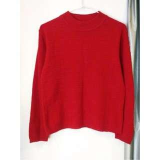 🚚 紅色小高領豆腐方格針織毛衣