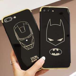 Full Coverage Brand New Instocks Piano Black + Gold Tone TPU Soft Shell 'Iron Man' & 'Batman' Mobile Hand Cell HP Phone Case Casing Cover Shell for Apple IPhone 6 6S Plus IPhone7 7Plus IPhone8 8 Plus 7 8 + (superheros him marvel spiderman vans)