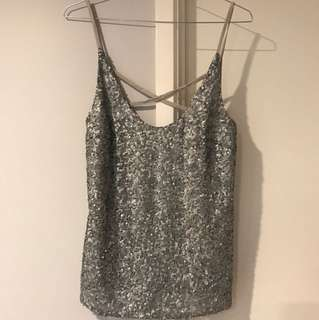 Grey sequin front strap top cotton back