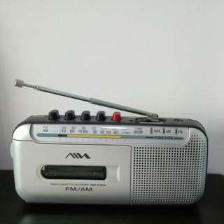 Sony-Aiwa Portable Transistor FM Radio With Cassette Player And Recording Function