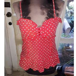 Valley Girl Rockabilly Style Polka-Dot singlet with zip Size 12