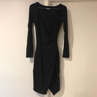 Kookai black long sleeve rouge dress with split
