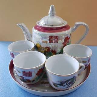 Chinese wedding teapot and cups