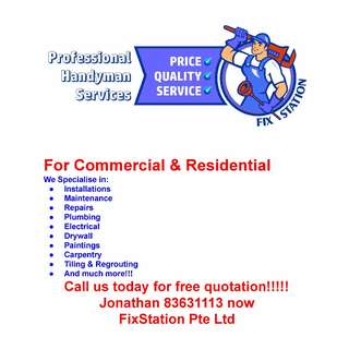 Handyman, Plumbing, electric wiring, painting and plastering