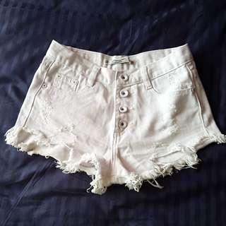 White Denim Ripped Shorts