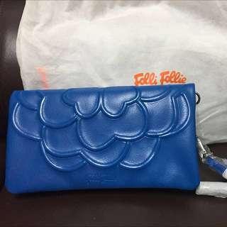全新Folli Follie藍色皮clutch Bag
