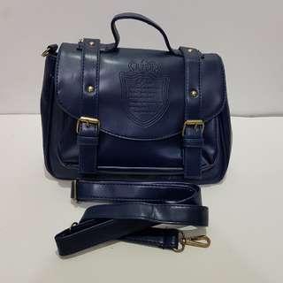 手提包/肩背包/學院風/多隔層/深藍色