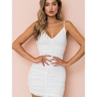 White Fitted V-Neckline Dress