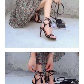 全新降價 麂皮絨 黑色流蘇綁帶高跟鞋