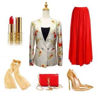 [inc 📮] Floral Slim Jacket - Size M