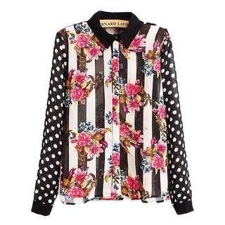 [inc 📮] Stripey Dots Printed Chiffon Shirt