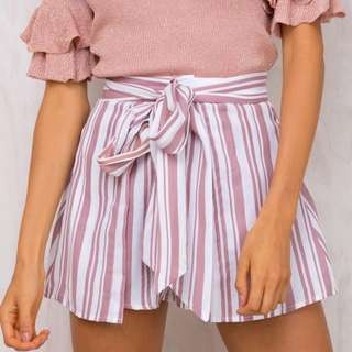 Pink/White Front Tie Shorts