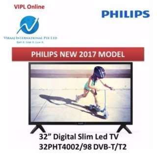 "NEW WITH WARRANTY : 32"" PHILIPS NEW 2017 MODEL DIGITAL SLIM LED TV 32PHT4002/98 DVB-T/T2 (4000 SERIES)"