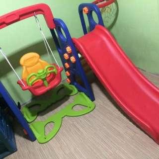 Indoor/Outdoor Swing Slide Playground Set w/ basketball