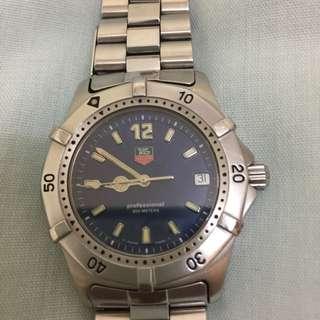 Tag Heuer Professional 200m bracelet blue dial quartz date diver watch WK1113