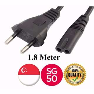 2 Pin Power 5A with Fuse to 2 Pin Power Plug UK 1.8 METER