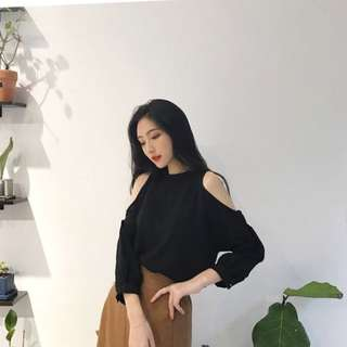 Korean Chic style cold shoulder