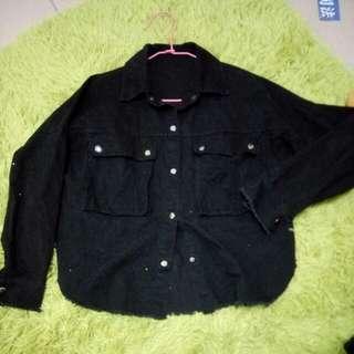 黑色斜紋布金屬扣撕邊外套#四百不著涼