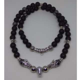 (NCK-16) 10 mm High Quality 'Agate' Stone Beads Necklace (4 Hooks)