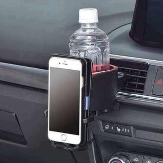 日本 最新 風口 杯架+手機架 ( 碳纖紋 )