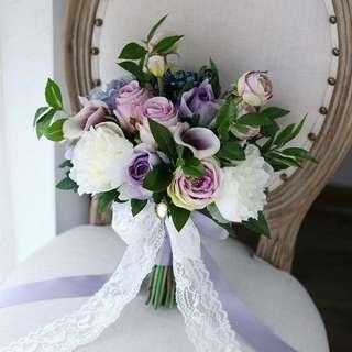 💐YourStalkMarket - Artificial Purple Hand Flower Bouquet Calla Lily Hydrangeas Rose