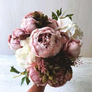 💐YourStalkMarket - Artificial Dusty Pink Hydrangeas and Peonies Bouquet