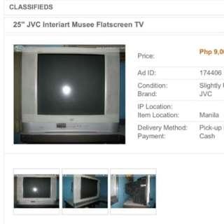 Jvc tv interiart musee flatscreen crt tv. 25inches