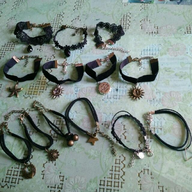(10條)多款日/韓復古甜美珍珠絨帶蕾絲多層情侶手鏈
