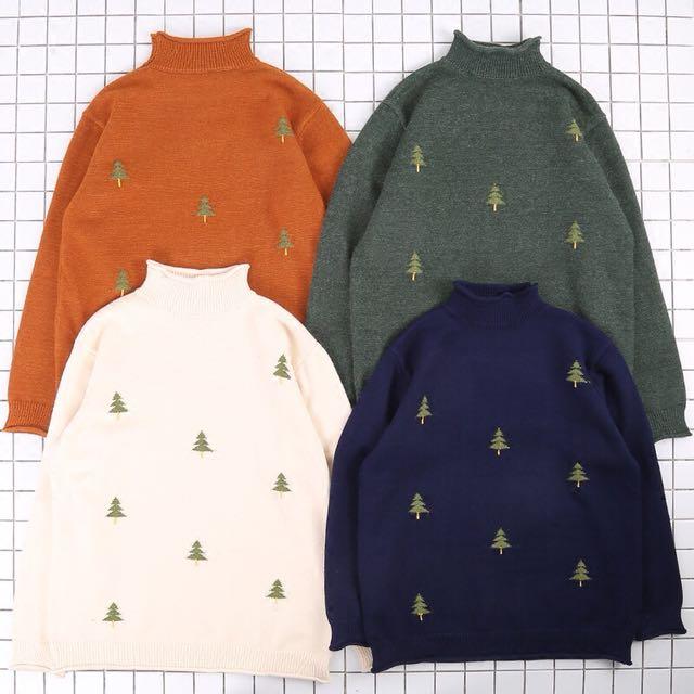 復古寬鬆高領聖誕樹毛衣