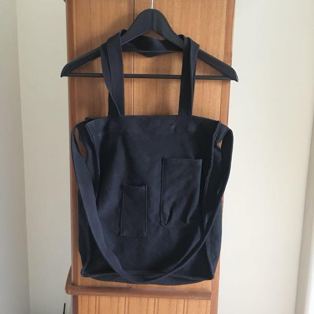 黑色兩用帆布包手提側背斜背包