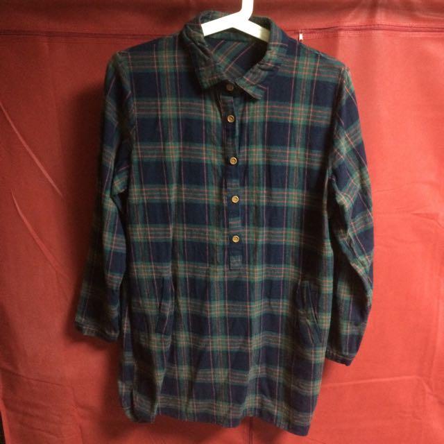 長版綠格紋口袋襯衫