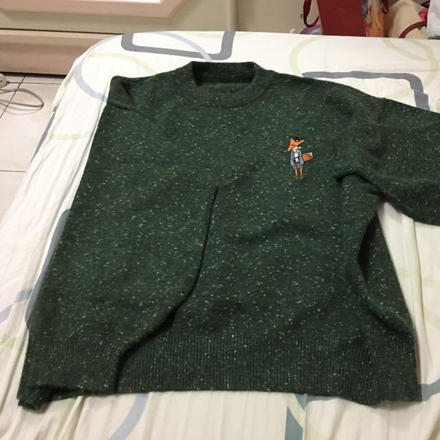墨綠狐狸針織上衣