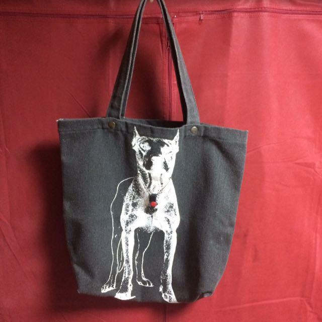 黑灰惡犬肩背帆布包