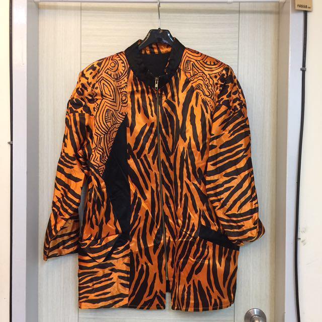 橘黑絲緞長夾克式外套-大清倉-買到賺到