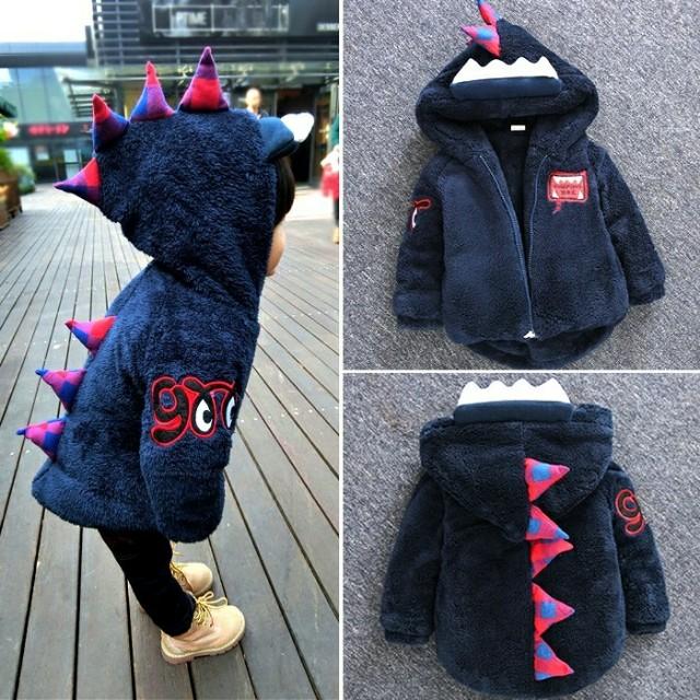 [#我的嬰幼可超取]秋冬儿童恐龍加绒外套