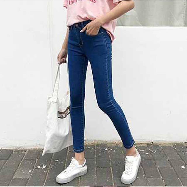 牛仔褲  韓版高腰顯瘦彈力修身小腳鉛筆