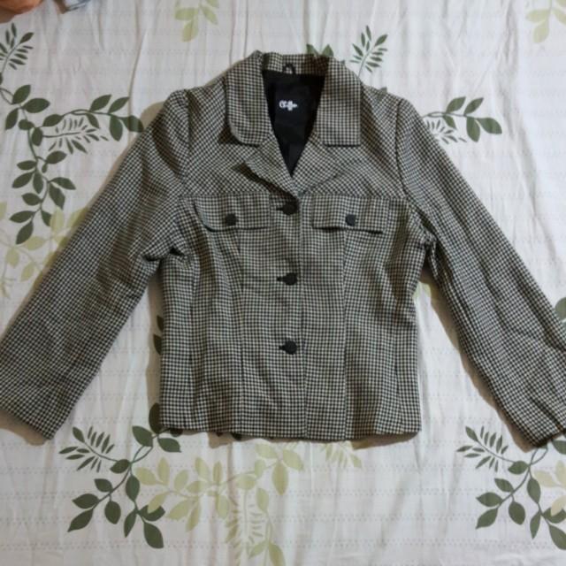 黑色格子西裝外套 百貨公司購入 品牌在3.4 100%純羊毛 定價600#雙十一大出清