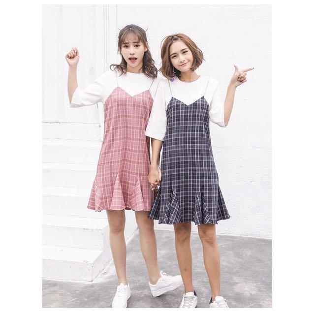 假兩件吊帶裙 格子裙 魚尾裙