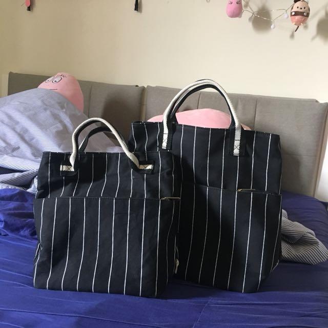 黑色條紋帆布手提包 便當袋 書包 大小各一
