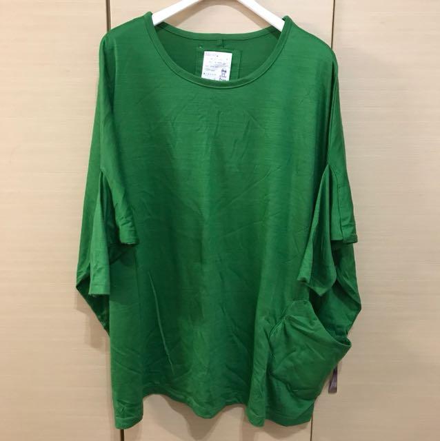alasha 綠色五分袖上衣