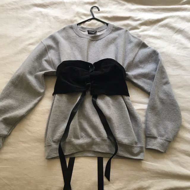 ASOS grey corset jumper