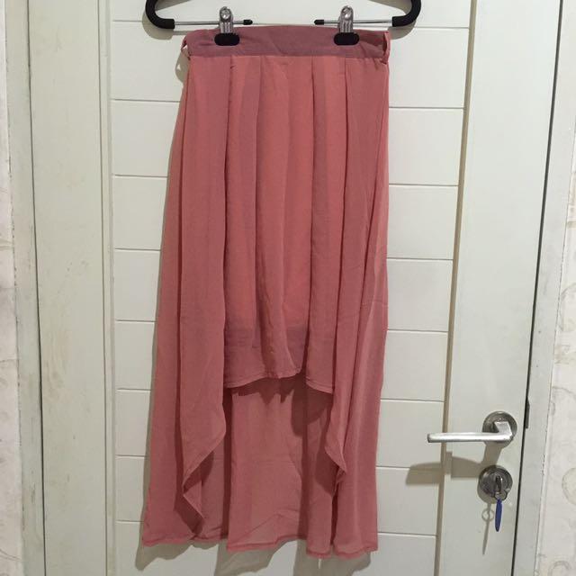 Asymetric skirt Rok asimetris Panjang Pendek PINK SALEM