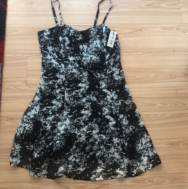 Black and white splatter dress