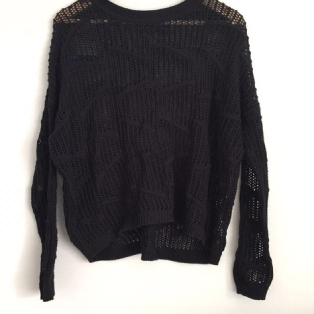 Black patterned knit