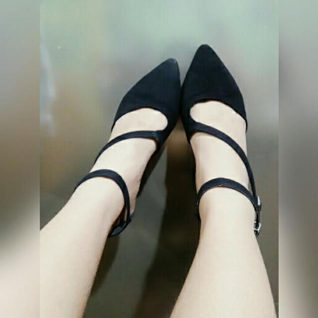 Black Suede 2 Inches Heels