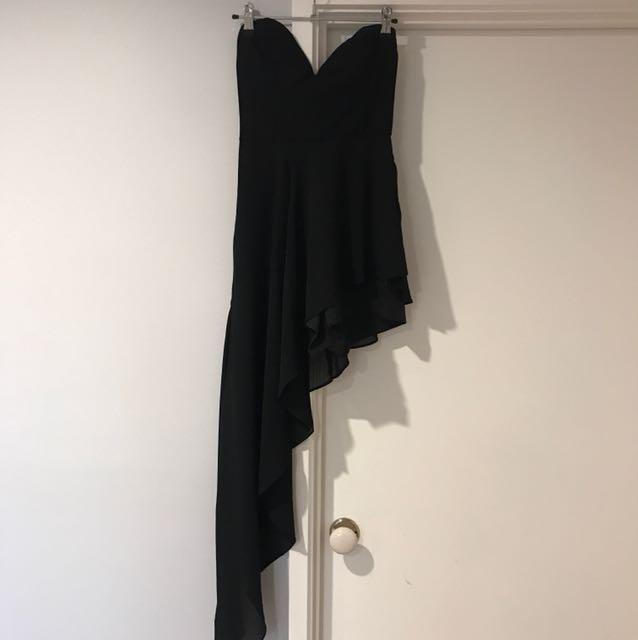 Black sweetheart neckline jumpsuit with side train