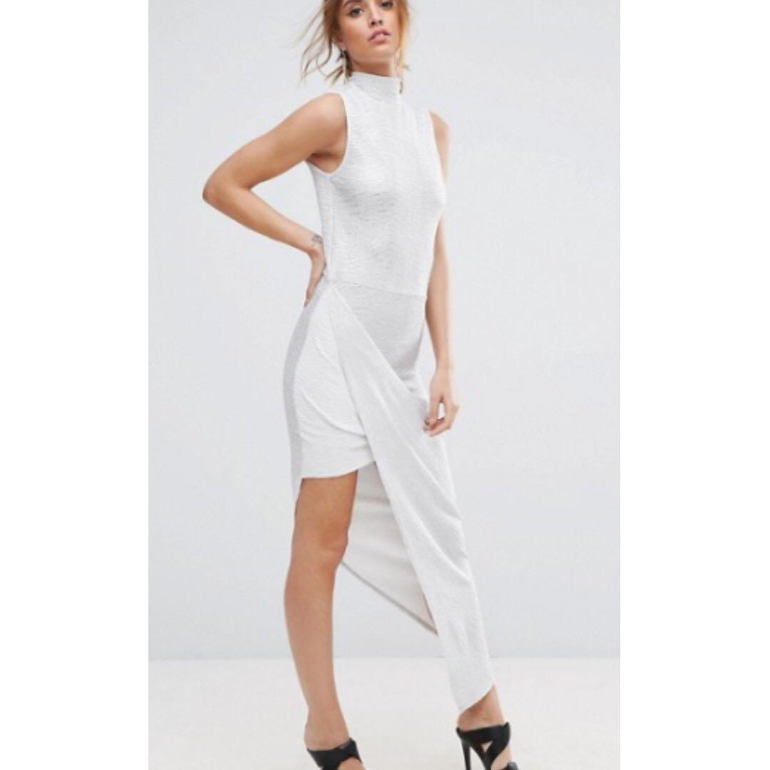 BNWT Plisse Maxi Dress with High Neck