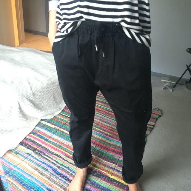 BONDS drop crotch black pants