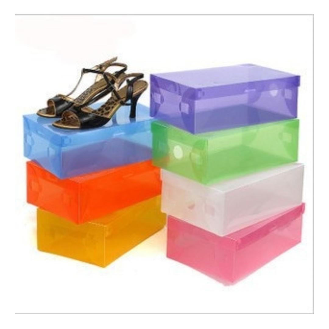 Box kotak sepatu plastik sandal transparan warna warni murah - HHM001