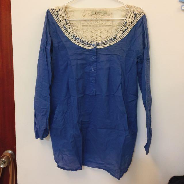 (郵寄免運)蕾絲拼接藍色長袖長版上衣(購自cat world)